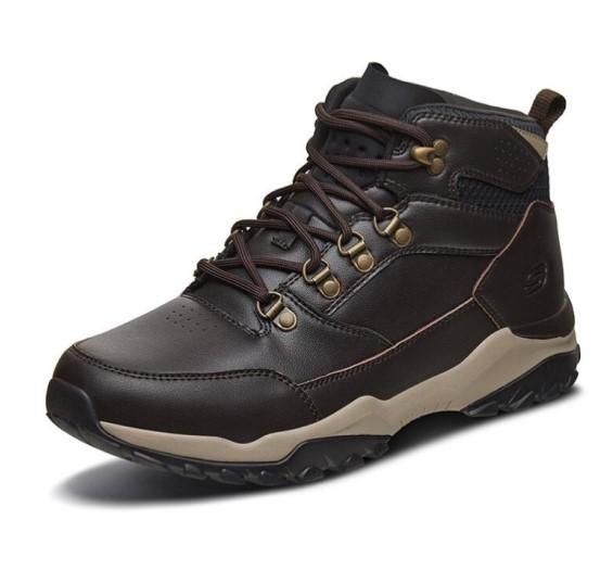 SKECHERS 斯凯奇 男士拼接圆头系带短筒靴66256 深棕色42