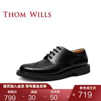 ThomWills春季新款马丁鞋男低帮真皮布洛克英伦休闲皮鞋 黑色小牛D285 7/40码