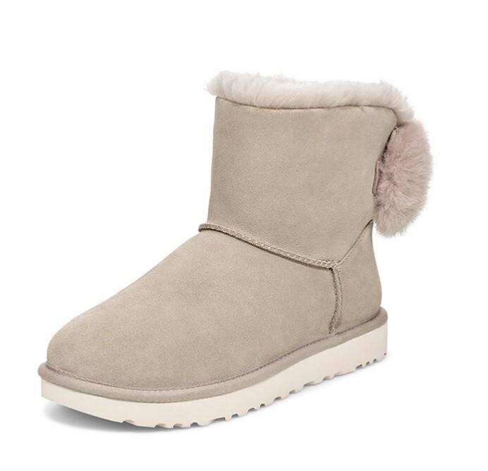UGG 女士圆头套脚毛茸蝴蝶结雪地靴1109854 柳灰色38