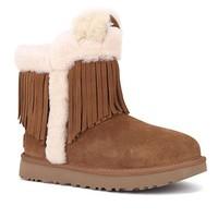 UGG 女士流苏圆头套脚中筒雪地靴1100550 栗子棕色40