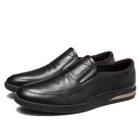 AOKANG 奥康 男士皮质圆头套脚低帮休闲鞋F03112001 黑色39