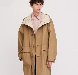 UNIQLO 优衣库 男士纯色连帽大衣426033 驼色 M