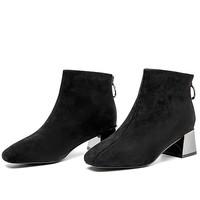AOKANG 奥康 女士方头粗跟后拉链短靴 黑色38
