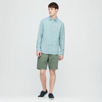 UNIQLO 优衣库 男士法国麻长袖衬衫427455 青绿色 S