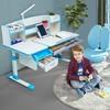 帕默 儿童桌椅套装 蓝色1.2m书桌+直杆椅 白桦木款