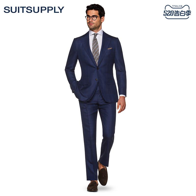 Suitsupply- Lazio蓝色羊毛丝麻混纺格纹商务休闲男西装套装