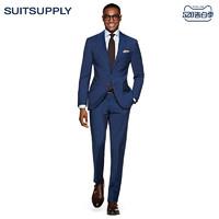 Suitsupply-Napoli中蓝色羊毛平纹商务休闲男士西装套装