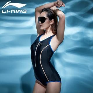 李宁(LI-NING)泳衣 女款时尚 动感休闲游泳衣 连体运动平角女士泳装 408-1 小平角黑色 XL