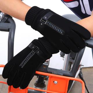 北诺(BETONORAY)手套男士冬季加厚加绒户外骑车骑行猪皮手套保暖棉手套 双背带经典款 黑色