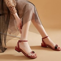 DAPHNE 达芙妮 202003050J 女士凉鞋 酒红色 3cm 36