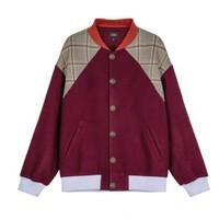 bosie 男士拼色棒球领单排扣长袖夹克19040106096 深红色L