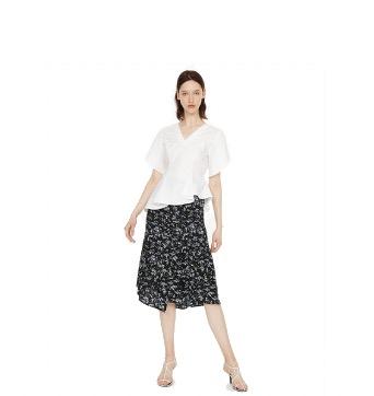 URBAN REVIVO 女士A型自然腰拼色碎花半身裙WE21S5AN2004 黑色S