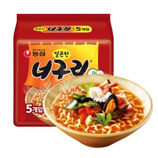 韩国进口 农心 方便面 浣熊乌龙面 辣味 120g*5 五连包 网红方便面速食 *2件