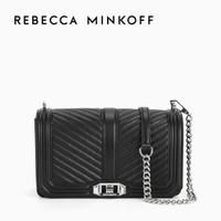 Rebecca MinkoffCHEVRON QUILTED LOVE单肩斜挎包大号 BLACK
