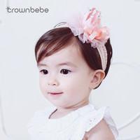 CROWNBEBE婴儿发带幼儿0-3-12个月生日百日拍照儿童发饰头饰