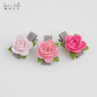 davebella戴维贝拉女童发饰  女宝宝花朵发夹【3件装】