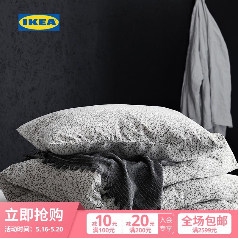 IKEA宜家TJARBLOMSTER谢尔布鲁姆斯特床罩灰色1.5x2米