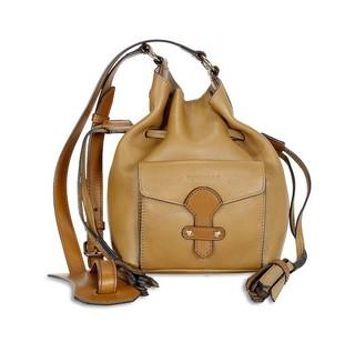 BURBERRY 博柏利 Leather Bucket Drawstring 女款单肩水桶包