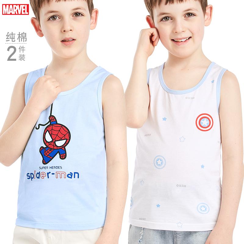 迪士尼 96108 男童背心纯棉内搭儿童 C款 白+蓝 120cm