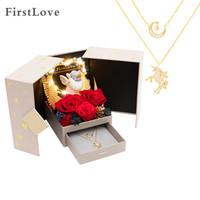 FirstLove独角兽永生花红玫瑰花双层叠戴项链礼盒同城鲜花速递求婚表白520情人节礼物生日礼物结婚送女生老婆