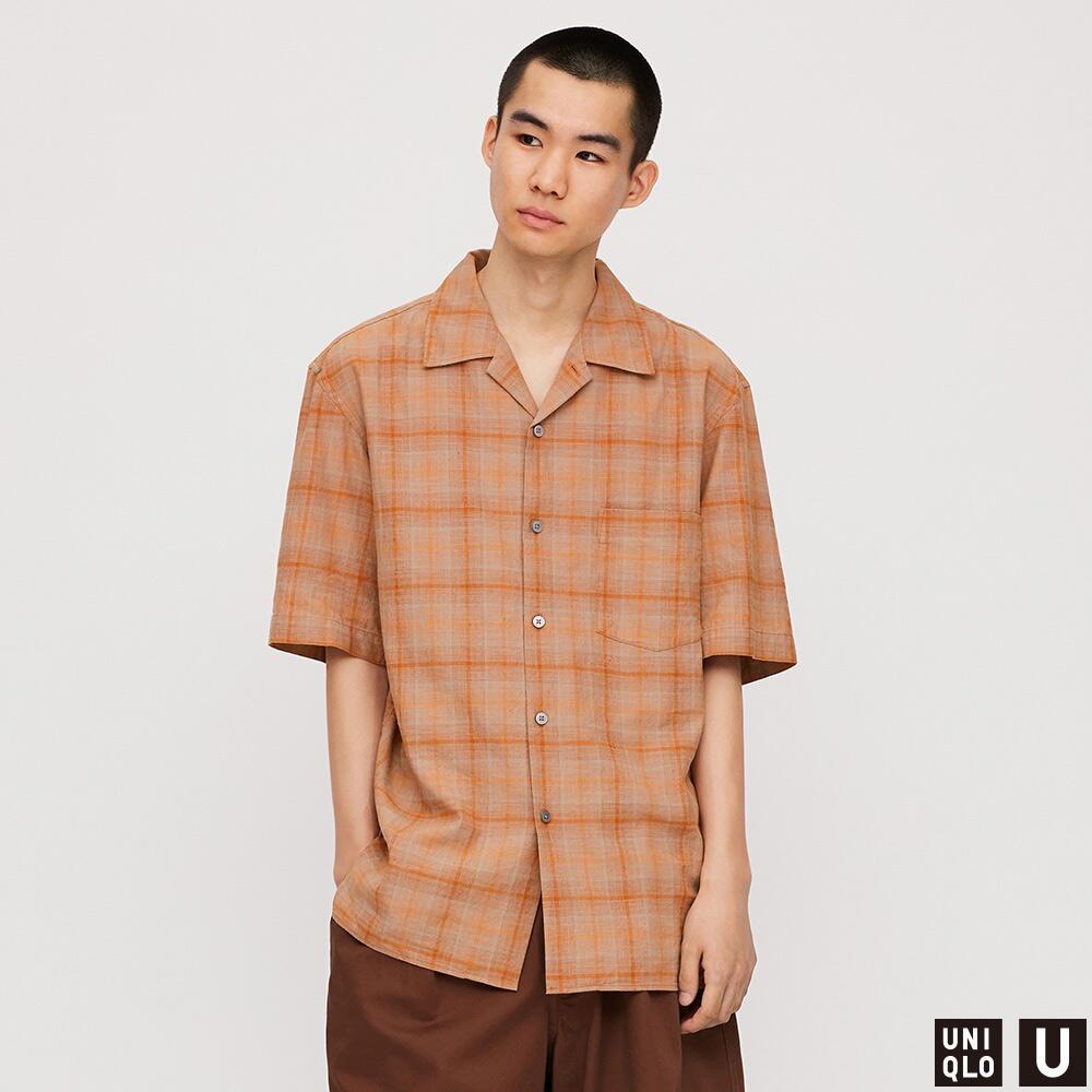 男装 麻棉格子开领衬衫(短袖) 427334