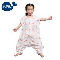米乐鱼 婴儿睡袋抱被儿童宝宝分腿短袖夏款纱布2层防踢被 粉色火烈鸟-大110*57cm