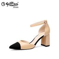 金利来(goldlion)女士拼色尖头一字扣粗高跟凉鞋8120056222-杏色-38码