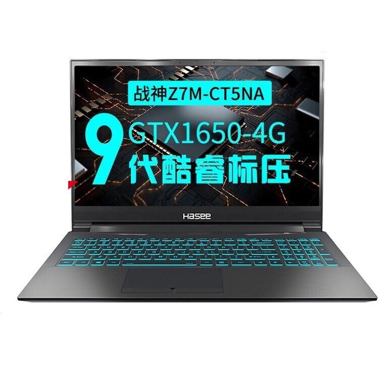 Hasee 神舟 战神系列 Z7M-CT5 定制版 笔记本电脑 (黑色、酷睿i5-9300H、8GB、512GB SSD、GTX 1650)