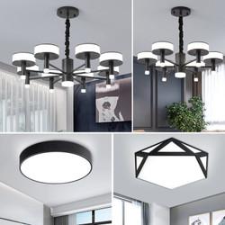飞稳  北欧灯具LED客厅灯简约现代大气吊灯套餐 黑咖色8头 6头两室两厅 4件套