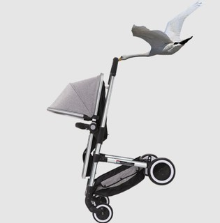 elittile 高景观婴儿推车超轻便折叠婴儿车可坐可躺换向宝宝手推车避震便携童车可双向 炭黑色车架离子灰-限量版