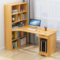 耐家转角电脑桌简约书桌书柜书架台式办公桌组合 B款120CM尼亚美胡桃色