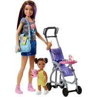 芭比 Barbie 女孩芭比娃娃玩具 芭比之小小育婴师推车组合 FJB00