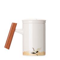 初陶 木柄陶瓷马克杯 单杯装 400ml