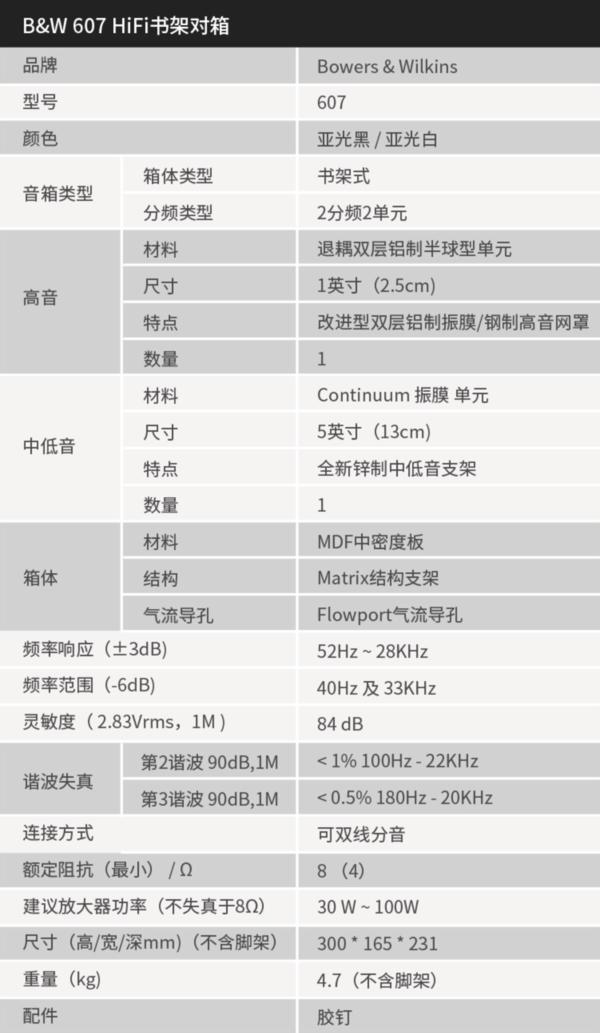 B&W 宝华韦健 607 2.0无源书架箱