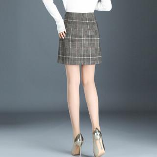 欧偲麦 短裙半身裙 百搭款女士a字裙夏季格子一步裙开叉包臀高腰大码修身时尚 LDNS-98700-0 格子 2尺2