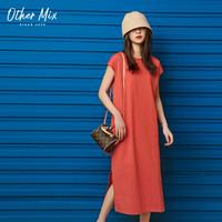 七格格连衣裙女2020新款春夏韩版短袖时尚气质宽松中长款红色裙子