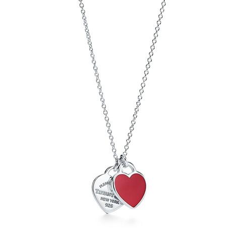 Tiffany&Co. 蒂芙尼 63520594 小号银镶心形珐琅吊坠