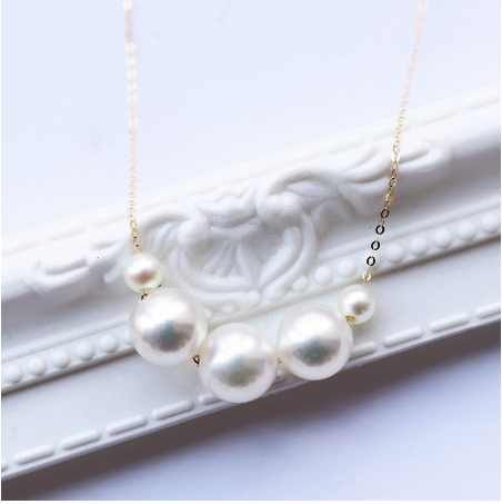 PearlYuumi Akoya 海水珍珠K18项链  大小珠组合 8-8.5mm