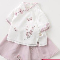 dave&bella 戴维贝拉 女童中国风裙套装