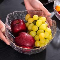 法蘭晶 日式金边玻璃果盘沙拉碗 透明描金大号+2只叉子