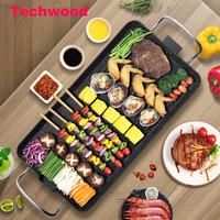 Techwood 电烧烤炉 电烤盘 家用无烟 不粘电烤炉烧烤架 韩式烤盘 烤肉锅烤串机 不粘铁板烧 便携拆洗 MG-9032