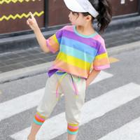 2020夏季新款儿童短袖套装女童彩虹条纹T恤加休闲裤两件套 彩虹套装