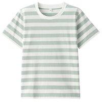 无印良品 MUJI 孩童 印度棉天竺编织 条纹短袖T恤 薄荷绿色 孩童 130 *4件
