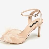 达芙妮 1019303008 女士网纱细跟踝带凉鞋