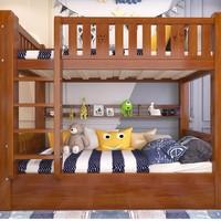 ZH 子航 实木儿童床子母床 135cm+书架+抽屉*2+床垫*2