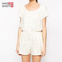 Haoduoyi J15150B762 女款刺绣蕾丝白色短袖连体裤