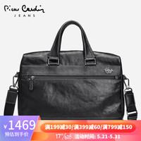 皮尔卡丹男包大容量男士公文包商务手提包时尚简约单肩斜挎包 黑色