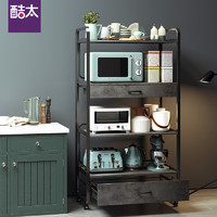 酷太厨房置物架微波炉收纳架落地多层可移动铝合金烤箱架子储物架