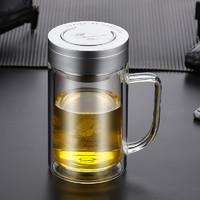 富光双层玻璃杯泡茶杯家用大容量把手办公杯带盖带滤网水杯刻字