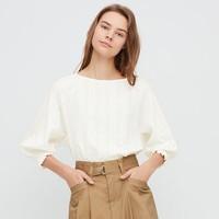 UNIQLO 优衣库 426563 女款全棉提花七分袖上衣